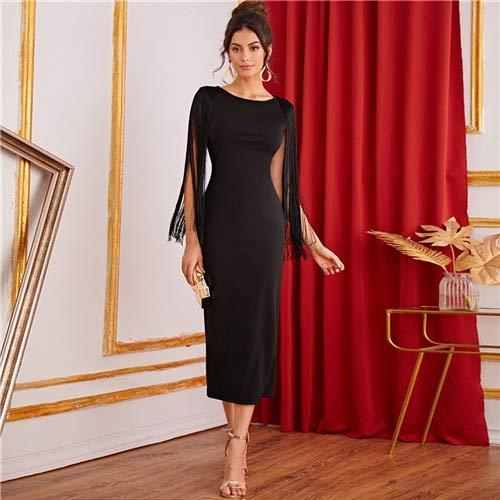GMZA zwarte solide Franse detail split back potlood partyjurk vrouwen herfst mouwloze elegante dames bodycon jurk