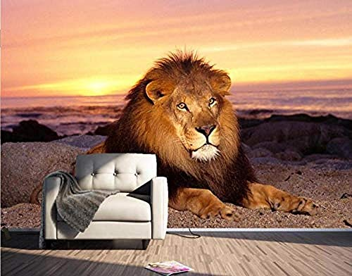 XHXI Carta da parati 3D Carta da parati moderna 3D Tramonto Lions Soggiorno Decorazione Pittura Sfondo muro Carta d Carta da parati fotomurali poster murale Soggiorno camera letto sfondo-350cm×256cm
