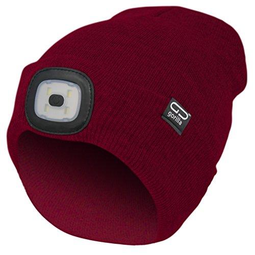 Mütze-Beanie Farbe rot, 2. Generation mit besserem Halt des LED Licht, USB-Rechargeable, OneSize, 3 Helligkeitsstufen, 1 Blinkmodus, waschbar, Lampe entnehmbar | Marken Qualität von Gorilla