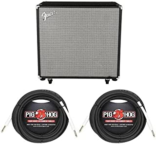 Fender Rumble 115 Cabinet, V3, Black/Silver - With 2 Pack 25' 1/4