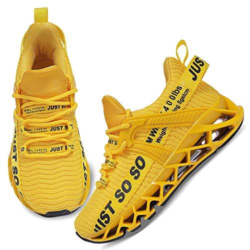 UMmaid Jungen Schuhe Sportschuhe Kinder Mesh Atmungsaktiv Laufschuhe Mädchen Sport Sneaker Turnschuhe Hallenschuhe für Damen,D Gelb,31