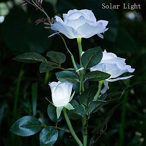 FeiliandaJJ 3LED Solar Weiß Rose Solarlicht Gartenlicht IP44 Wasserdicht Solarleuchten Rasenlampe Outdoor Dekorativ LED Licht für Garten Hochzeit Party Halloween Xmas Innen/Außen Haus Deko (Weiß)