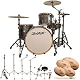 Sawtooth Command Series 4-Piece Drum Shell Pack with 24' Bass Drum, ChromaCast Hardware & Zildjian S Family Cymbals, Silver Sparkle