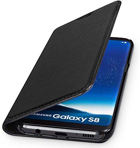 WIIUKA Echt Ledertasche -TRAVEL Nature- für Samsung Galaxy S8 -DEUTSCHES Leder- Schwarz, mit Kartenfach, extra Dünn, Tasche, Leder Hülle kompatibel mit Samsung Galaxy S8