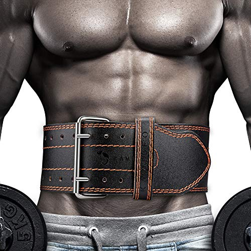 Kamileo Lifting Belt, Weight Lifting Leather Belt with Prong Buckle for Men and Women, Stabilizing Lower Back Support for Powerlifting Squat Deadlifting(M)