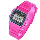 Taffstyle Damen Herren Sportuhr Silikon Armbanduhr 80er Jahre mit Alarm Datum Kalender Viereckig Vintage Retro Digital Uhr Pink