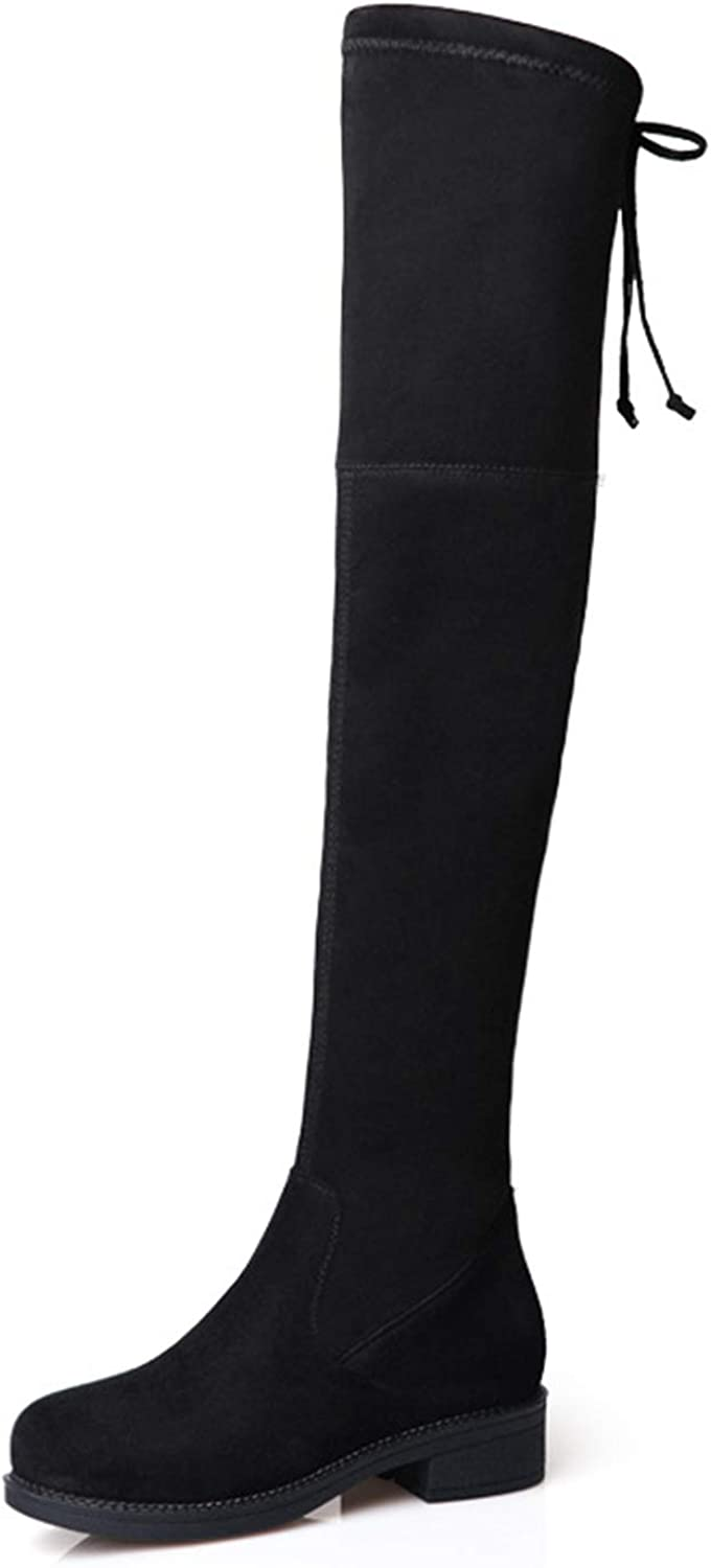 Autumn Winter Women's Long Boots with Lace Up Pure color Slim Knee-high Boots Ideal for Ladies Girls Work Shopping Wear,Black