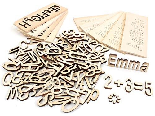 wodewa houten letters natuur decoratieve letters 146 delen set letters hout 4 cm alfabet ABC houten cijfers hoofdletters kleine letters