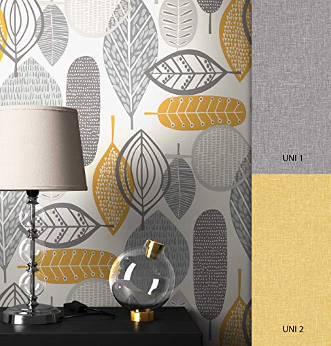 NEWROOM Tapete grau Floral Blätter Retro Papiertapete gelb Papier moderne Design Optik Tapete Natur inkl. Tapezier Ratgeber