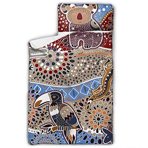 WYYWCY Bunte Nahtlose Muster australische Tiere dekorative Schlafsack für Kinder Schlafsack Reisen mit Decke und Kissen Rollup Design ideal für Vorschule Kindertagesstätte Sleepovers 50