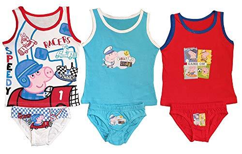 Peppa Pig, Peppa Wutz, Georg Wutz 6 stuks. Ondergoed voor jongens, bestaande uit shirts en slips/onderbroeken, rood, blauw en wit, motief Georg voor verschillende sporten