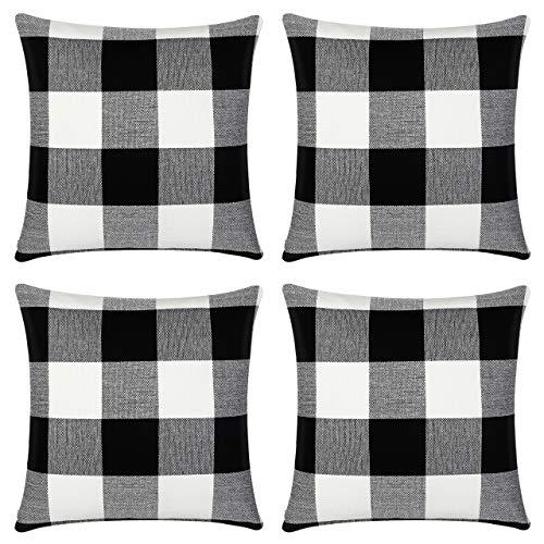 InnoGear Set of 4 Black and White Throw Pillow Cover, Classic Buffalo Check Cotton Linen 18 x 18 inch for Farmhouse Home Decor Design Cushion Case Sofa Bedroom Car