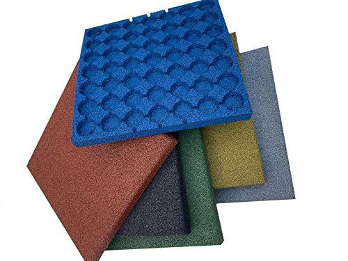 Pack x8 loseta caucho para gimnasio y parques infantiles 50 x 50 x 4 cm, suelo gimnasio de caucho, pavimento para gimnasio y suelo de parques infantiles (8 losetas (2 m²), Azul)