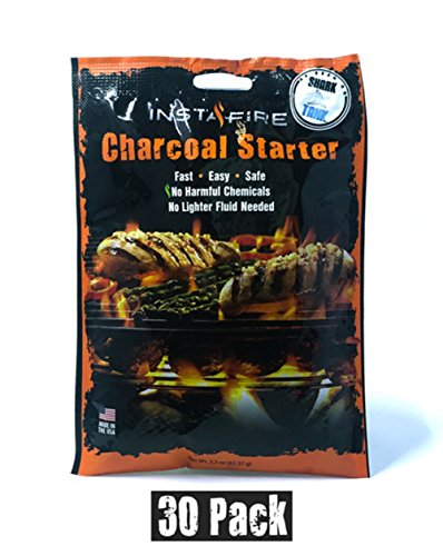 (30 Packs) Insta-Fire Charcoal Briquette Fire Starter Pouches for Grills, Smokers, More - Chemical Free, Awarded 2011 Innovative Product of The Year