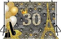 女性のための新しい7x5ftハッピー30歳の誕生日の背景キラキラゴールドの誕生日の背景30歳の誕生日パーティーの装飾用品フォトスタジオの小道具211