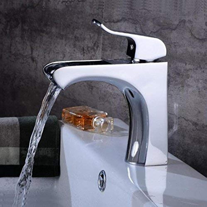 Oudan New Basin Faucets Chrome Brass Waterfall Bathroom Bathroom Faucet Square Spout Single Handle Deck Vanity Sink Mixer XT529 (color   -, Size   -)