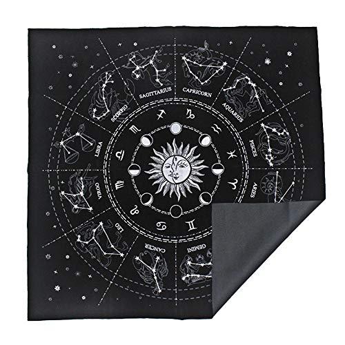 su-luoyu Quadratische Tarot Tischdecke 12 Sternbilder Astrologie Tarot Weissagungskarte Tischdecke Astrologie Tapisserie Zum Spielen Von Astrologiekarten Brettspiel, 50 50cm