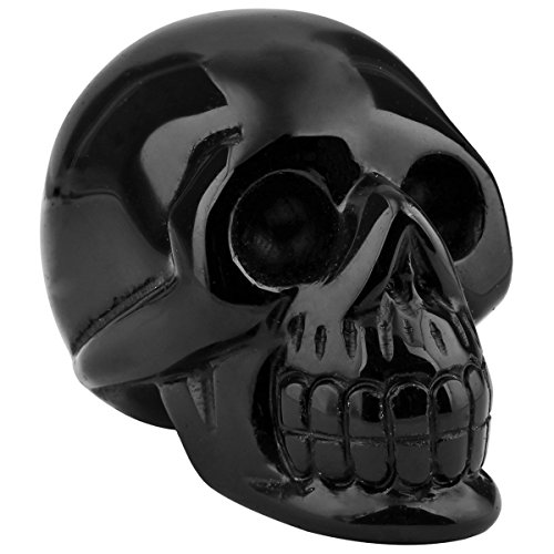 rockcloud Healing Crystal Stone Human Reiki Skull Figurine Statue Sculptures Black Obsidian 3'