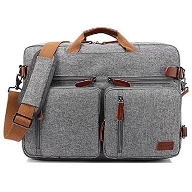 CoolBELL Convertible Backpack Messenger Bag Shoulder bag Laptop Case Handbag Business Briefcase Multi-functional Travel Rucksack Fits 17.3 Inch Laptop For Men/Women (Grey)