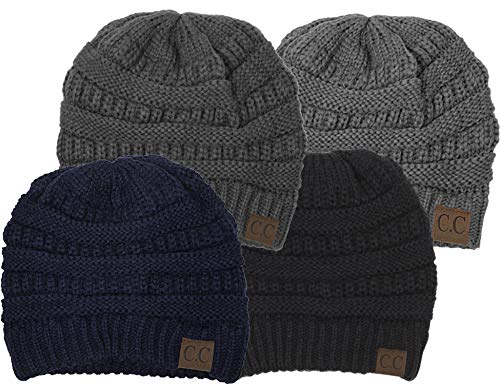 H-6020a-4-06315170 Solid Beanie 4 Pack - Black, Navy, Heather Grey, Charcoal