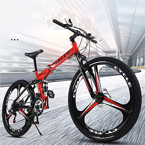 Bicicleta De Montaña Hombres Mujeres, Ruedas 3 Radios De 26 Pulgadas, Bicicleta Montaña Plegable, Bicicleta Montaña De Freno Disco Dual 30 Velocidades, Marco Acero Ligero Fuerte