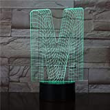 AOXULIU Luz de noche Letra M Forma 3D Usb Touch Luz De Noche Panel De Acrílico De Alta Transmitancia Lámpara De Mesa Divertida Colores Cambiables Decoración Lámpara Led Base Negra