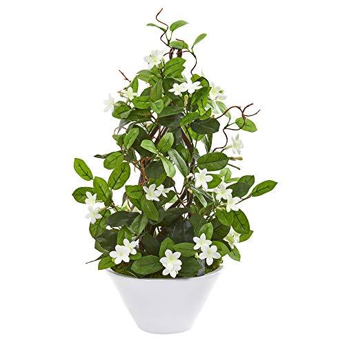 Nearly Natural 9593 Stephanotis Kunstpflanze zum Klettern, aus Seide, 61 cm, Grün