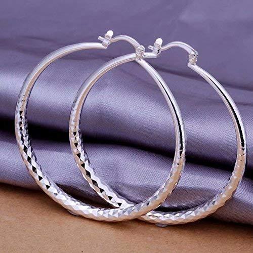 Classic Silver Big Hoop Earrings, Fashion Silver Large Round Huggie Hoops Earring Wedding Jewelry Gifts for Women Teen Girls