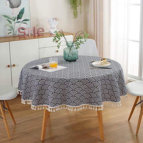 Kuingbhn Mantel de Mesa Rectangular para Cocina Simple Cotton Linen Printing Simple Uso Interior y Al Aire para Jardín Habitaciones Dark Blue 100cm Circle Diameter