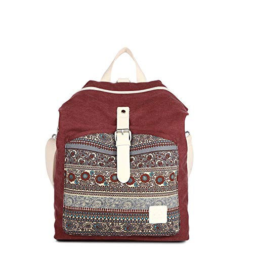 CMZ Backpack Ladies Fashion Simple Backpack Trendy Ladies Canvas Backpack Large-Capacity Ethnic Canvas Women's Bag