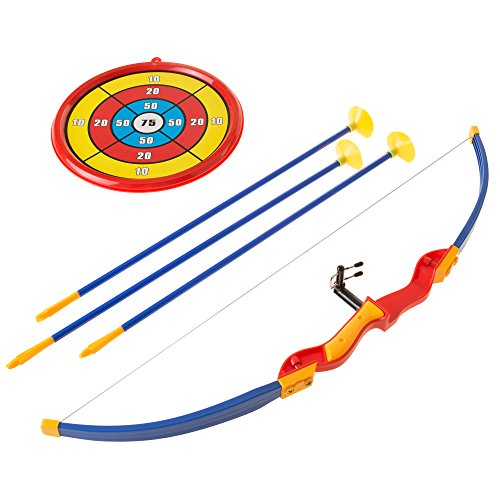 Kids Bow and Arrow Set with 3 Suction Cup Arrows, Target - Safe Toy Archery Game Kit for Boys and Girls By Hey! Play!