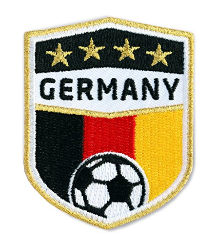 2 x Fussball Abzeichen gestickt 70 x 55 mm / Deutschland Germany, Gold Stickerei / Aufbügler Aufnäher Sticker Patch Bügelbild / deutsch Fußball National Team Dress Trikot Flagge Fan Mannschaft Verein