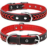 TagMe Leather Dog Collar for Medium Dogs, Braided Soft Padded Dog Collars with Double D-Rings,Red M