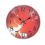 Reloj de pared redondo de madera de 12 pulgadas con diseño vintage silencioso, números arábigos vintage Diseño rústico estilo toscano Reloj de pared redondo decorativo de madera reloj de pared silenci