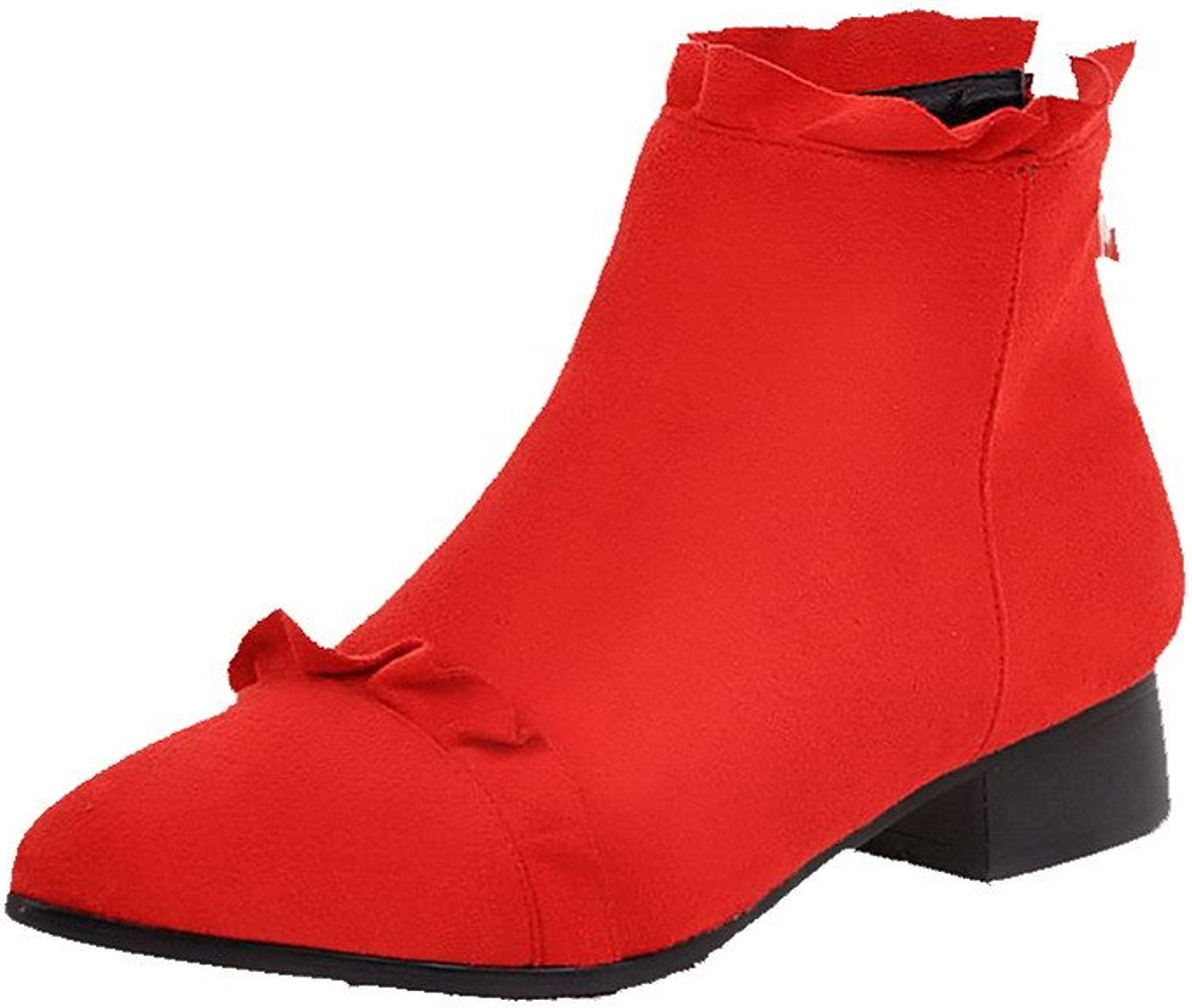 WeenFashion Women's Pointed Closed Toe Low-Heels Frosted Low-top Solid Boots