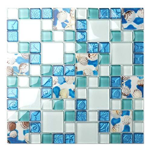 TST Mosaic Tiles Glass Conch Tiles Beach Style Sea Blue Glass Tile Glass Mosaics Wall Art Kitchen Backsplash Bathroom Design TSTGT370 (10 Square Feet)