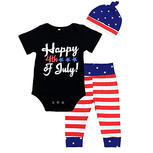 Zefeng Happy 4th of July 2018 Baby Boys Girl 3Pcs Outfits Romper+ Striped Long Pants+Cap Clothes...
