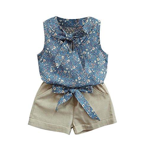Allence Kleinkind Kinder Mädchen Sommer Kleidung Baby Mädchen Outfits Blumen Kurze Ärmel Muster Shirt Top Shorts Set Kleidung für 3-8 Jahre