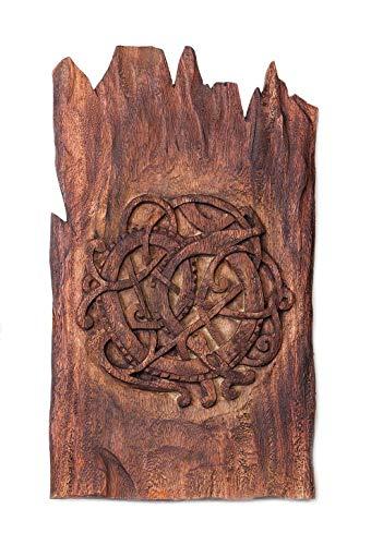 Windalf - Piedra vikinga, Estilo rústico, 40 cm, decoración de Pared en Relieve, decoración de Madera, Hecha a Mano