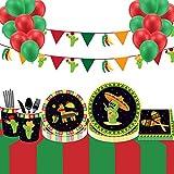 Vajilla Desechable 44 unids/set decoraciones de fiesta de México dibujos animados de cactus platos desechables tazas de servilletas favores de cumpleaños suministros de vajilla