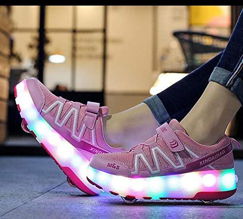 YURU Mode LED Heelies Schuhe Breathable Kinder-Zwei-Rad-Schuhe Abnehmbare Kinder Single Wheel Roller Skates,Black-EU32