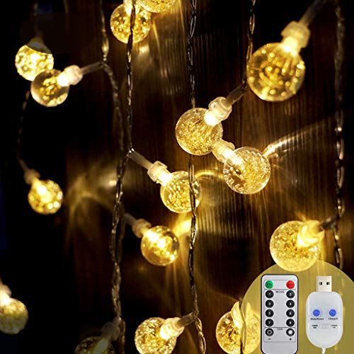 [2 Pack]Koopower Crystal Ball Lights, 30 LEDs 16ft/5M Garden String Lights Remote Timer 8 Modes Outdoor Fairy Lights USB Plug in Powered for Bedroom Patio Wedding Christmas Party [Warm White]