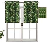 Cortina opaca para ventana, diseño de bosque selvático, hojas de palma, estilo hawaiano, verano, juego de 2, 137 x 91 cm, para interior, sala de estar, comedor o dormitorio