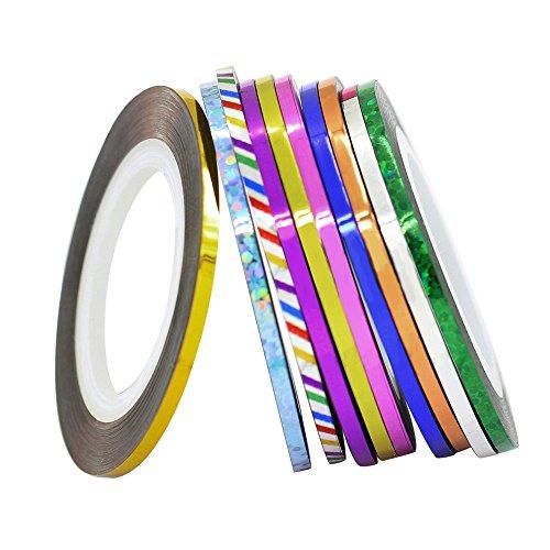 10 pcs Couleurs mélangées Rouleaux Striping Tape Ligne Nail Art Décoration Autocollant (Couleurs aléatoires)