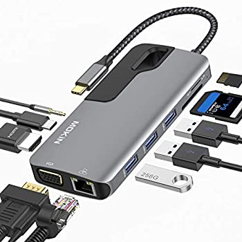 USB C Hub Adapter for MacBook Pro Thunderbolt 3 Adapter,10-in-1 USB C Dongle with Gigabit Ethernet USB C to HDMI VGA Adapter,100W Power Delivery,3 USB 3.0 SD TF Card Reader-Through Port Adapters.