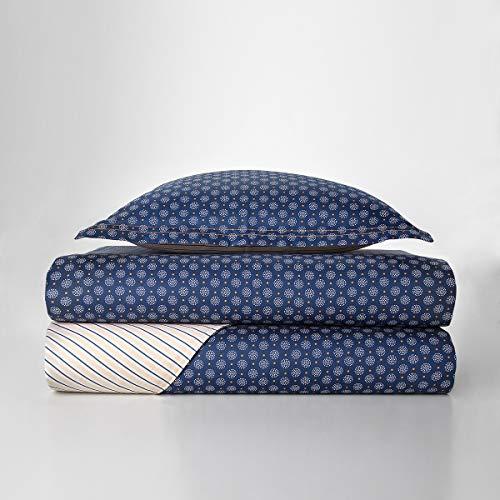 Juego de funda nórdica Tommy Hilfiger Nanntucket Denim para cama de una plaza y media de 1,5 plazas, satén de algodón puro, funda + 2 fundas de almohada sin sábana bajera