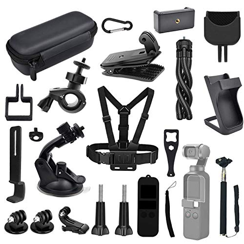 Kitspeed Expansion Accessories Kit for DJI OSMO Pocket Action Camera,Including Mobile Phone Holder,Extension Base,Tripod,Car Suction Cup Bracket,Strap Clip and More
