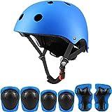 Set di protezioni sportive per bambini, casco da ciclismo regolabile per bambini con ginocchiere, gomitiere, protezioni per i polsi, casco da skateboard per ragazzi per 3~10 anni - Blu