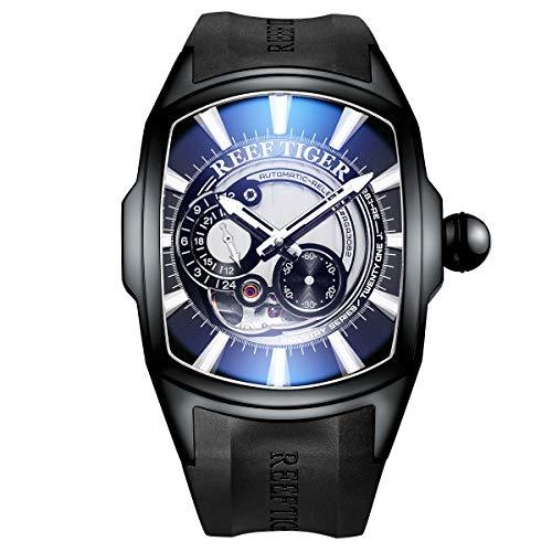 Reef Tiger Luxury Top Brand Sport Relojes automáticos Negro PVD Relojes analógicos para Hombre RGA3069S (RGA3069S-BBWB)