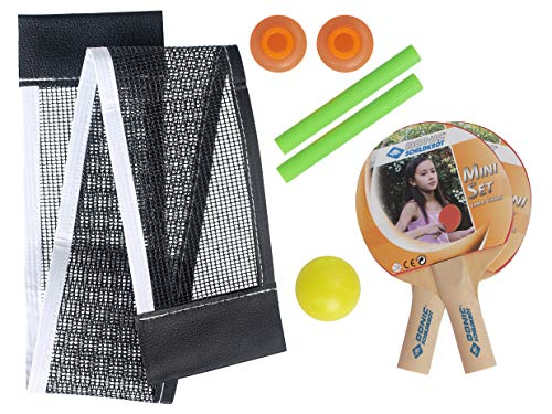 Donic-Schildkröt Mini Table Tennis Set, Includes 2 Small Wooden Bats, Net with Suction Cup and 1 Ø35mm Ball, 788435